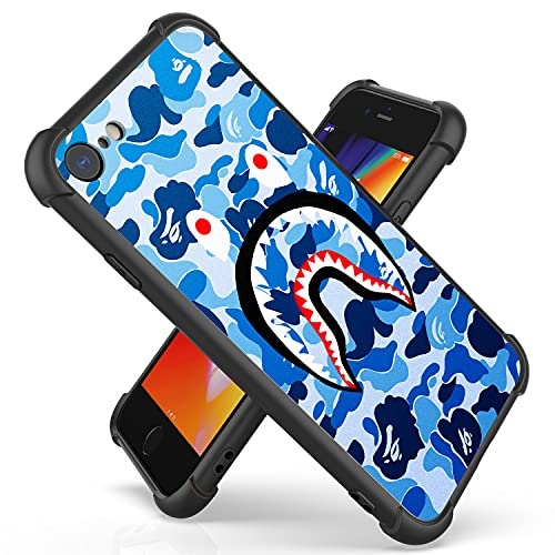 IRUNCOOL Shark Face Case Compatible with iPhone SE 2020 / iPhone 8 / iPhone 7 4.7 Inch, Hard Plastic + TPU Hybrid Shockproof Protective Phone Case Cover (Blue-Camouflage-Bape)