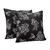 "AmazonBasics 2-Pack Linen Style Decorative Throw Pillows - 18"" Square, Black Floral"