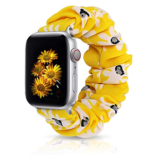 Scrunchie Elastic Watch Band Compatible with Apple Watch 38mm40mm,Cloth Soft Wristband Strap Women Elastic Scrunchy Band Compatible for iWatch Series 6/SE/5/4/3/2/1(Yellow-White Daisy, 38mm/40mm M/L)