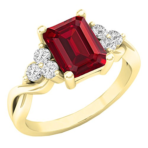 Dazzlingrock Collection 8X6 MM Lab Created Ruby & White Sapphire Engagement Ring, 10K Yellow Gold, Size 8