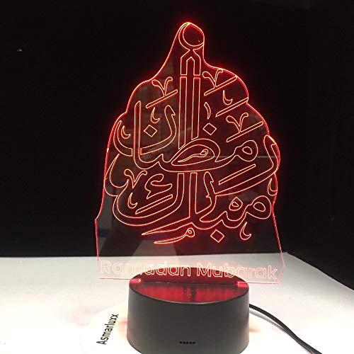 Islam bendición Ramadan Mubarak Saludos cordiales 3D LED lámpara de escritorio con luz nocturna Decoración del hogar Regalo de vacaciones Juguetes para niños