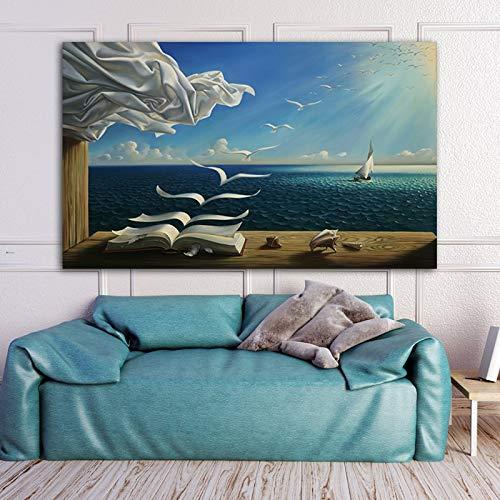 Flduod ART Salvador Dali Zee Golven Boek Foto Canvas schilderij Wall Art Pictures Voor Woonkamer Moderne Decoratie Home Decor23.6x47.2inch