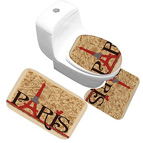 JIUJIUYITECH Tapis de Bain, 3 pièces, Couvre-Toilettes, décoration, Tapis de Pieds, Eau absorbante antidérapante (Color : 15)