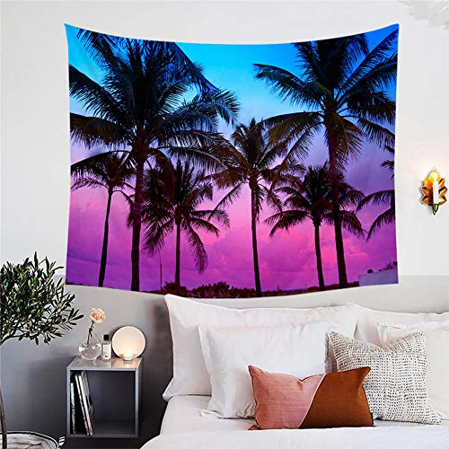 QAZX Palm Trees Tapestry Wall Hanging Tropical Decorative Wall Carpet Miami Beach Sunset Bedspread Purple 3D Tapisserie 200x150cm