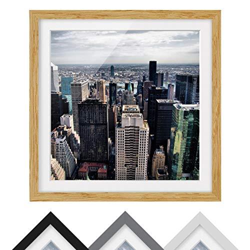 Bilderwelten Póster Enmarcado - In The Middle of New York - Marco Madera de encina 70x70cm