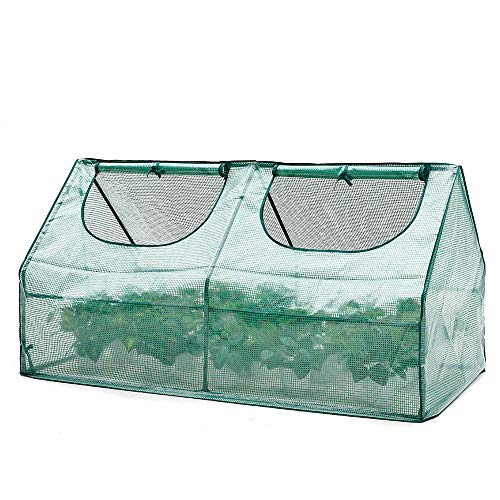 AMERLIFE Portable Mini Greenhouse Waterproof UV Protected PE Cover Suitable for Garden Patio Backyard Indoor Outdoor Use Extra Ground Pegs,71''x36.3''x36.3'', Green