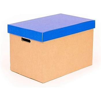 Kartox | Cajas de almacenamiento con tapa azul mate | Cajas para mudanza y almacenaje de