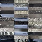 MOS87-58X - Azulejos de mosaico translúcido, de acero inoxidable, color plateado, gris y negro