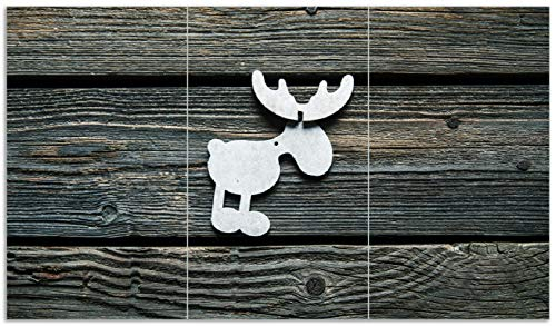 Wallario Herdabdeckplatte/Spritzschutz aus Glas, 3-teilig, 90x52cm, für Ceran- und Induktionsherde, Elch Symbol in weiß, vor dunklem Holz