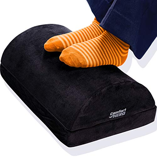 Comfort HERO Adjustable Desk Foot Rest – Instantly Rescue Your Feet & Back w/Ergonomic Foot Rest for Under Desk at Work & Home, Office, Chair, Couch, Travel – 2X High Resilience Memory Foam
