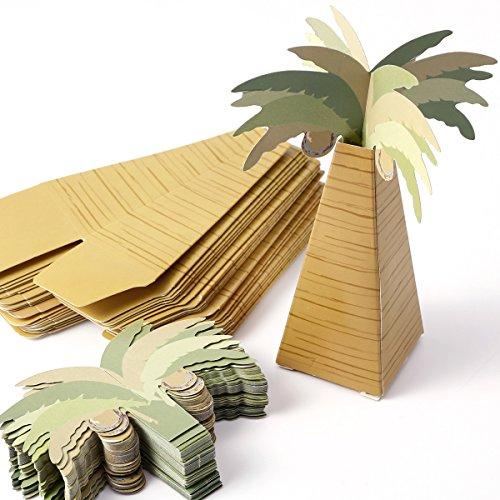 Anladia 25xKokospalme Motive Geschenkbox Geschenkschachtel Kartonage Geschenkverpackung Aufbewahrungsbox Gastgeschenk Hochzeit Party Tischdeko