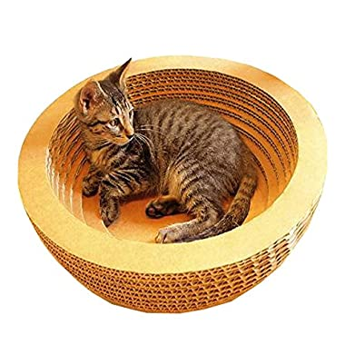 MicroMall Corrugated Paper Bowl-style Cat Toy Scratcher Bed Pad with Catnip