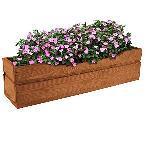 PlantBox Elegantes Hochbeet Kräuterbeet Pflanzbeet Gemüsebeet Pflanzkasten Blumenkasten Balkonkasten Pflanztrog Garten Blumenkübel 64x16x15cm glatt Farbe braun