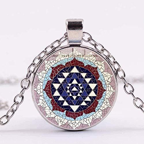 ZGYFJCH Co.,ltd Collar Moda Collar Antiguo Talismán Geometría Sagrada Joyas Chakra Mandala Espiritual Collar Budista Collar Colgante Regalo para Hombres Mujeres Niñas Niños