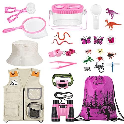 Gemeer Kit de Aventuras al Aire Libre, 26 Kits de Captura de Insectos, Kits de Aventuras al Aire Libre para niños, Kits de Ropa de Aventura, Juegos educativos, Juguetes de Aventura (Rosa)