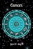 Zodiac Undated Weekly Planner - Cancer June 22 - July 22: Teal Zodiac Wheel on Black Starry Sky Cover Personalized Organizer Calendar With Pages For Contacts and Notes