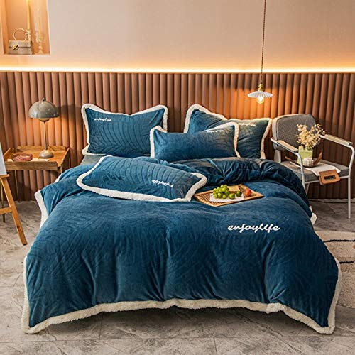 teddy fleece bedding king size set-Winter bedding milk velvet four-piece set three-dimensional cut flowers thickening warm French quilt cover bed sheet pillowcase gift-J_1.8m bed (4 pieces)