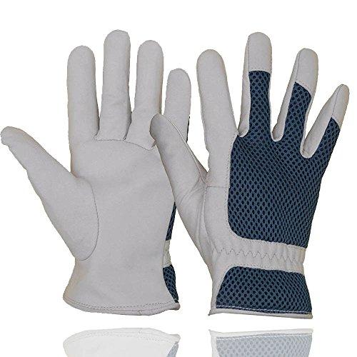 HANDLANDY Gartenhandschuhe von Ziegenleder mit 3D-Netzstoff Design für Damen,Tragekomfort und Atmungsaktivität,Kratzfestige Handschuhe für Garten und Allgemeine Arbeit
