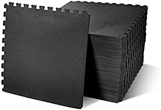 "BalanceFrom Puzzle Exercise Mat with EVA Foam Interlocking Tiles, Black, 1/2"" Thick, 144 Square Feet"