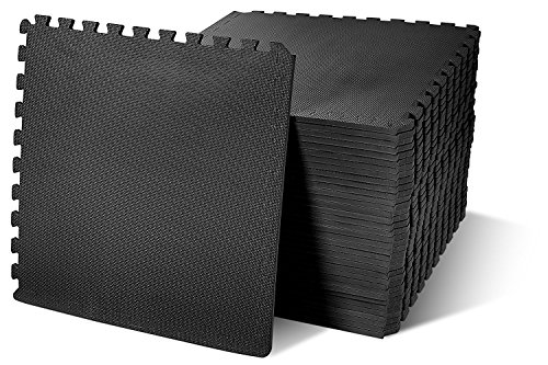 BalanceFrom Puzzle Exercise Mat EVA Foam Interlocking Tiles, Black, 144 sq. ft.