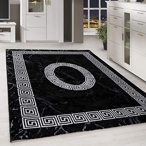 HomebyHome Kurzflor Design Teppich Griechisches Ornament Muster Troja Grau Schwarz Meliert, Farbe:Schwarz, Grösse:120x170 cm
