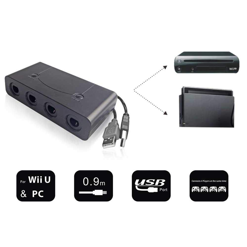 AOLVO Gamecube - Adaptador de Controlador para Super Smash Bros Ultimate/Nintendo Switch/Wii U y PC USB (4 Puertos), Color Negro: Amazon.es: Hogar