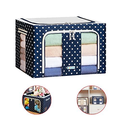 Fei-1 Boîte de Rangement Pliable Sac de Rangement avec Cadre en Métal Étanche à la Poussière Organisé Boîte pour vêtements Maison Placard Chambre à Coucher Salon (Bleu Marin)