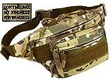 BlesMaller Tactical Fanny Pack Military Running - Riñonera para correr con cinturón MOLLE Army, bolsa lumbar Bumbag,CP (parche incluido)