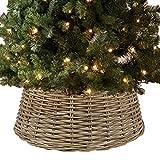 B-Creative Falda para árbol de Navidad, diseño navideño de Papá Noel de Mimbre, Cubierta de Soporte para decoración (Mimbre Natural)
