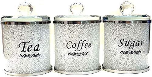 Aufbewahrungsdose für Tee, Kaffee, Zucker, 5 Farben, Besätze, Diamantkristall, gefüllt (weiß)