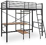Marco del metal Cama muebles de dormitorio con literas Estudio marco de trabajo de escritorio,Black