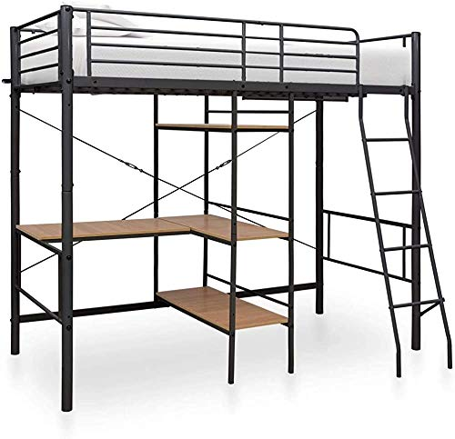 Metal Bed Frame Bedroom Furniture bunk Bed with Desk Frame Work Study,Black