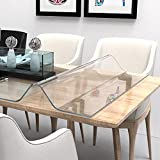 ETECHMART 36 x 60 Inch Clear Table Cover Protector, 1.5mm Thick Custom PVC Table Cover Tablecloth,...