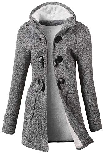 VOGRYE Womens Winter Fashion Outdoor Warm Wool Blended Classic Pea Coat Jacket (FBA) (L, Greyblack-Thicker)