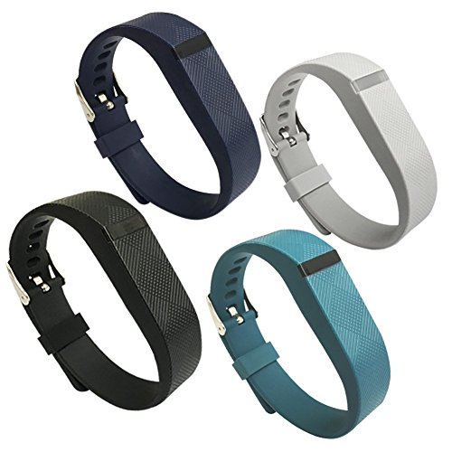 EPYSN 4PCS Band Compatible with Fitbit Flex,Silicone Replacement Wristband for Fitbit Flex Bracelet Sport Bands with Metal Watch Band Buckle Large/Small Black-Navy-Slate-Grey