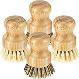 4 Pièces Mini Brosse à Récurer en Bambou Brosse à Vaisselle en Bambou Brosses à Récurer en Pot de Poils de Noix de Coco pour Poêle en Fonte Évier de Cuisine Nettoyage Domestique de Salle De Bain