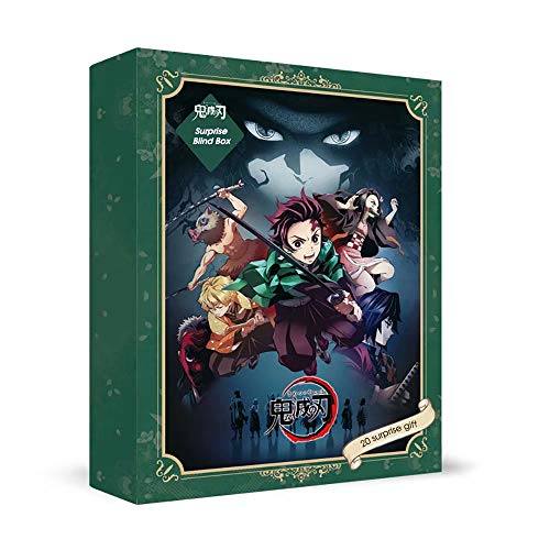 Anime Demon Slayer Blind Box, 16 Feste Anime-Serienprodukte + Zufällige 4 von 8 sammelbaren Anime-Charakteren Metallabzeichen