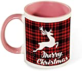 Divertida taza de café de cerámica - Feliz Navidad con arte de patrón de árbol de nieve para hombres / Día de San Valentín / Cumpleaños / Copas navideñas-rosa-patrón4