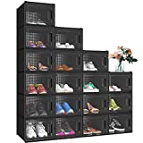 YITAHOME XL Shoe Box, Set of 18 Shoe Storage Organizers Stackable Shoe Storage Box Rack Containers Drawers - Black/X-Large Size