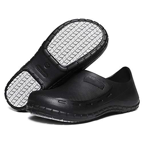 Zueco ligero de jardín de cocina de trabajo de hospital antideslizante zapatos de restaurante unisex negro UK5-10, color Negro, talla 38.5 EU