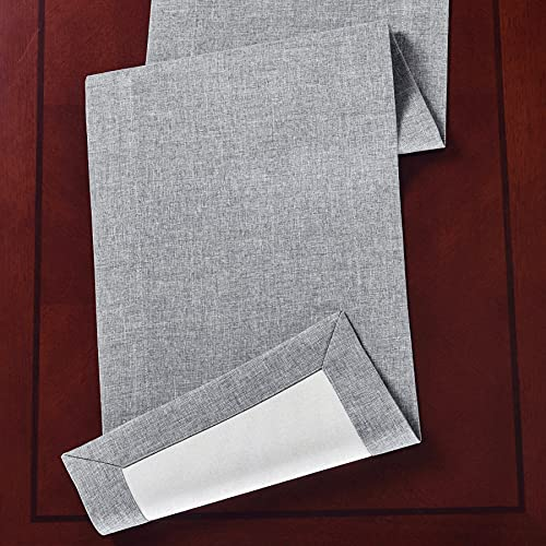HOMCHIC Linen Table Runners 72 Inches Long and Dresser Scarf - Reversible Dresser Runner Dining Room Table Decor, Table Linens to Decorate and Protect Your Table or Dresser - 14 x 72 Inch Grey-Beige