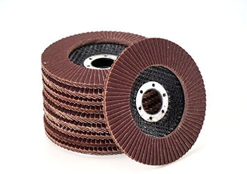 10 Stück Fächerscheiben Standard braun Korn 60 – Ø 115 mm x 22,23 mm/Standard Fächerscheiben/Schleifmopteller/Fächerschleifscheibe