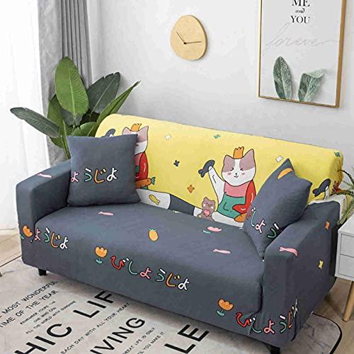 DWSM - Juego de funda elástica para sofá 1 2 3 4 plazas en ángulo extensible funda de protección extensible con reposabrazos (C,1 plaza: 90 – 140 cm)
