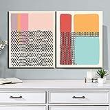 SHKJ Cartel Colorido Abstracto Lienzo Pintura impresión Arte de la Pared Imagen Decorativa Sala de Estar decoración Moderna para el hogar 2 Piezas 70x90cm / 27.5'x35.4 sin Marco