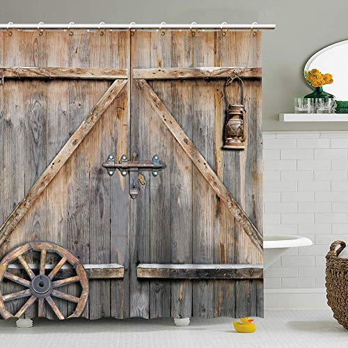 RosieLily Wooden Barn Door Shower Curtain, Rustic Fabric Bathroom Curtains with Hooks Brown Old Garage Door Country Farmhouse Style Artwork Bathroom Decor 72 Inches Shower Curtain