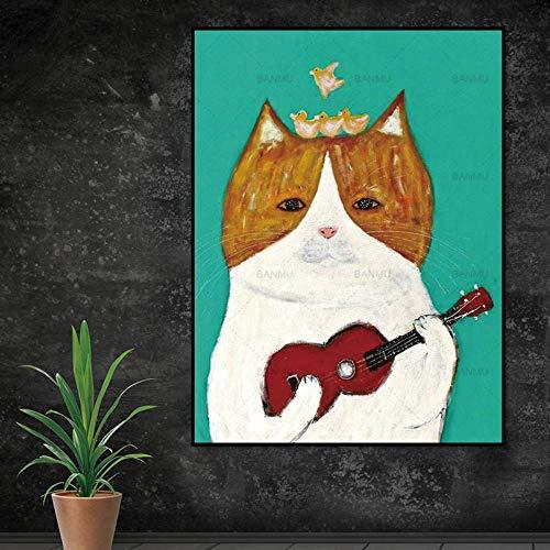 ZSHSCL kunstdruk op canvas, wanddecoratie, motief: viool met motieven van foto's op canvas, motief: Foto's zonder lijst 30x40cm No Frame