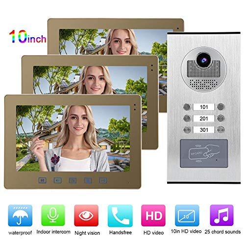 Video Türsprechanlage Türklingel, 10in Smart 3 Monitore Nachtsicht Intercom Türklingel Viewer Entry Access System Kit für Home Apartment(EU)