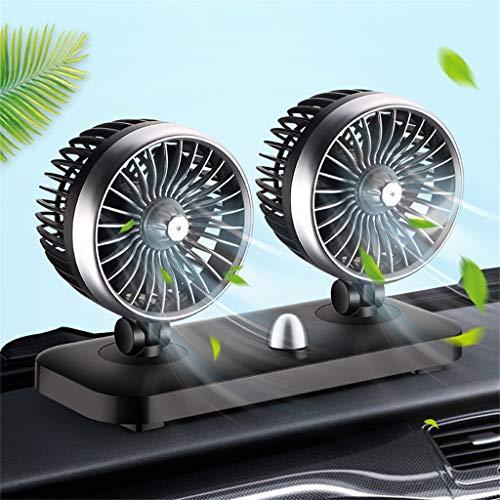 MASO Ventilador de coche de doble cabeza, ventilador de enfriamiento automático de...