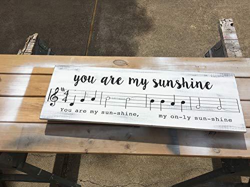 Ced454sy U bent mijn Sunshine Boerderij Inspirationele Home Decor Handgemaakte Houten Teken Lange Distressed Song Sheet Muziek Piano