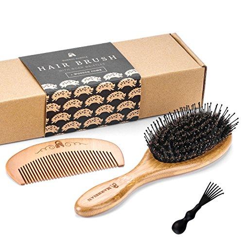 Cepillo para el pelo de bambú y cerdas de jabalí con alfileres para desenredar. Genial para desenredar el cabello. Los alfileres dirigen el pelo a las cerdas de jabalí, que vuelven el pelo sedoso.